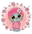 cute cartoon kitten with flowers vector image vector image