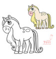 cute cartoon toy magic unicorn outlined and color vector image vector image