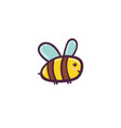 cute flying bee isolated element funny character vector image vector image