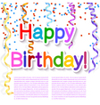 Festive texture happy birthday on white background vector image vector image