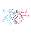 folk dance group line art vector image vector image