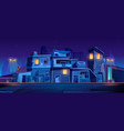 ghetto street at night slum abandoned houses vector image vector image