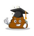 graduation poop emoticon character cartoon vector image vector image