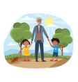 grandchildren walking in park with grandad vector image