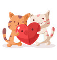 happy valentines day couple cat with jigsaw vector image