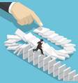 isometric businessman running away on domino that vector image vector image