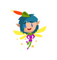 little winged elf boy with blue hair cute vector image vector image
