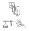 logistics and delivery outline icons in set vector image