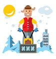 man with a snow blower flat style colorful vector image vector image