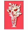 paper cut strawberry flavored milkshake vector image vector image