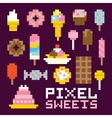 Pixel art isolated sweets set vector image vector image