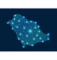 pixel Saudi Arabia map with spot lights vector image vector image
