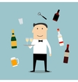 Restaurant waiter profession and drinks icons vector image vector image