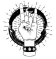 rock and roll sign hand drawn vector image vector image
