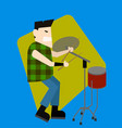 rockstar drummer is playing the drum machine vector image vector image
