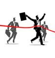 running businessmen crossing finish line vector image