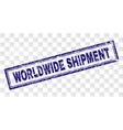 scratched worldwide shipment rectangle stamp vector image vector image
