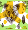 seamless pattern sketching of bear vector image