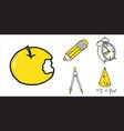 set of school equipment doodle icons vector image vector image