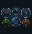 set speedometers icon group with dials panel vector image