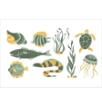 Stylized Underwater Nature Collection Of Icons vector image