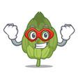 super hero artichoke character cartoon style vector image