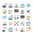 web hosting and cloud computing flat icons pack vector image vector image