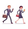 Office workers walking with smartphones vector image