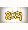3d gold 2021 numbers new year greeting card vector image
