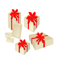 A Set of Gift Boxes with Red Ribbon and Cards vector image