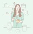 a women having breakfast in kitchen vector image