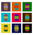 assembly of flat shading style pixel icon burger vector image vector image