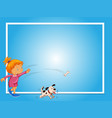 border template with girl and dog vector image vector image