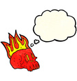 cartoon flaming skull with thought bubble vector image