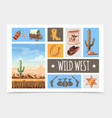 cartoon wild west elements set vector image