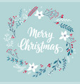 christmas callygraphic card - hand drawn floral v vector image vector image