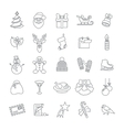 Christmas symbols flat line icons set