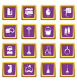 cleaning tools icons set purple square vector image vector image