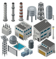 Collection of isometric industrial buildings vector image