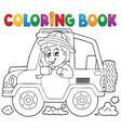 coloring book car traveller theme 1 vector image vector image