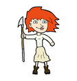 comic cartoon woman with spear vector image vector image