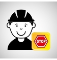 construction worker sign stop graphic vector image vector image