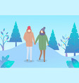couple walk through winter park cold weather vector image vector image