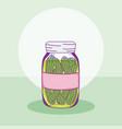 cucumbers in mason jar vector image