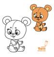 cute cartoon toy teddy bear sit on white vector image vector image