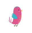 cute pink bird funny character isolated element vector image vector image