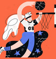 female basketball flat hand drawn vector image