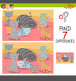 find differences game with cat characters vector image vector image