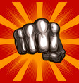 fist on an aggressive red background vector image