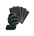 gesture female hand with poker cards vector image vector image
